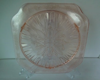 Vintage Pink Depression Glass Cake Plate Adam Pattern/Jeanette Glass 1930's