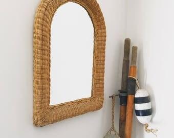 Rare Wicker Mirror | Rattan Mirror | Arch Mirror | Boho Mirror
