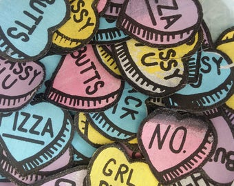 "Conversation Heart Patches--""Grl Pwr"""