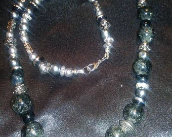 Black and silver hand beaded necklace