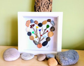 Pebble art, pebble picture, driftwood art, heart, tree picture, heart picture, sea glass, beach art, wall art, gift