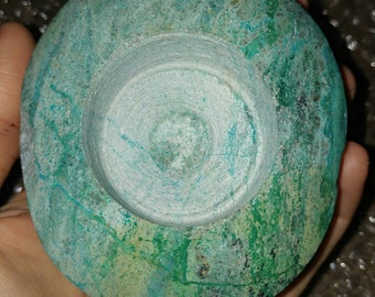 Chrysocolla candle holder