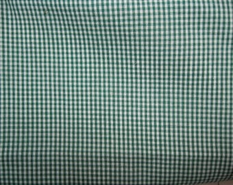 Cotton Fabric - Very Small Green Gingham Check