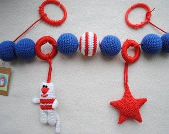 Activity toy bar handmade crochet teething toy rattle Stroller Pram Cot Star