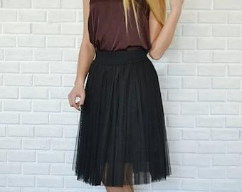 Tulle skirt for women tulle skirt knee length, skirt hight quality, tulle skirt  in black, coffee with milk, powder, fuchsia