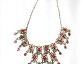 Vintage white silver necklace with red bead for woman