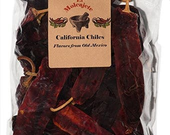 California Chile 8 oz Resealable Bag - El Molcajete Brand for Mexican Recipes, Tamales , Salsa, Chili, Meats, Soups, Stews & BBQ