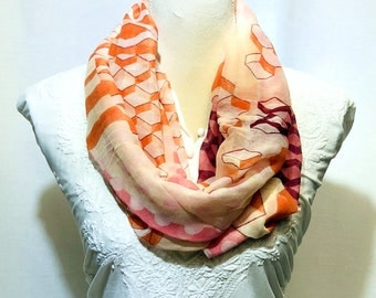 Peach and white printed scarf | summer collection | light weight | handwoven.