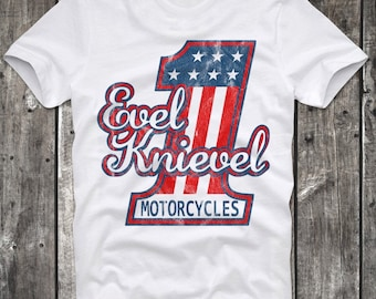 T-Shirt Evel Knievel Biker Motocross Route 66 Motorcycles White Distressed Retro Vintage 80s cult