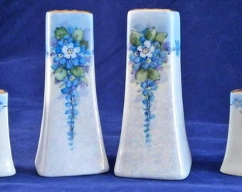 Antique Hand Painted Fine Bone China Salt & Pepper Shakers