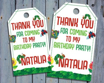 The Very Hungry Caterpillar Birthday Thank You Tags, Caterpillars Book Favor Tag, Printable Digital Labels, Goody Bag Tags, Hang Label Tags