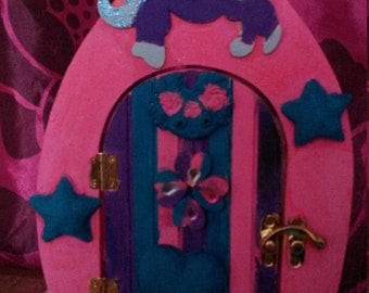 unicorn fairy door with heart,star, fairy , jewel and glitter detail