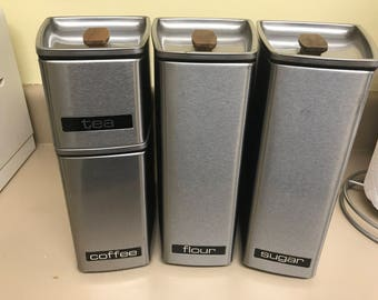 Vintage Midcentury Canisters, Set of 4