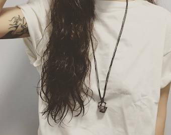Chevron Amethyst Tumble Stone necklace