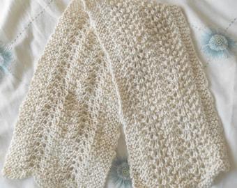 Hand knitted scarf in alpaca/silk mix