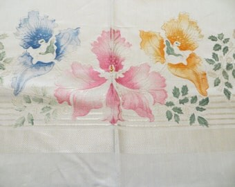 Beautiful Vintage UNUSED Colored Floral Damask Tablecloth & 6 Matching Napkins 1970's Easter