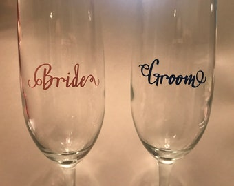 Champagne Glasses for Bride and Groom