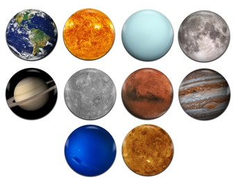 10x Planets Solar System 25mm / 1 Inch D Pin Button Badges