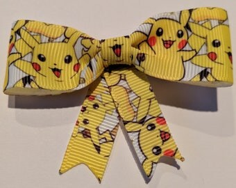 Geeky Pokemon Pikachu Ribbon Hair Bow with Clip
