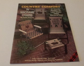 Country Comfort in Macrame Chairs by Karen Andriths, Vintage 1990