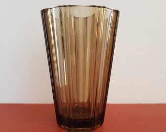 Vintage smoked glass vase
