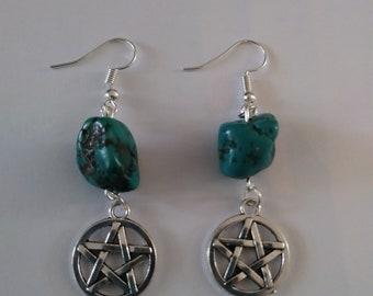Turquoise earrings with pentagram