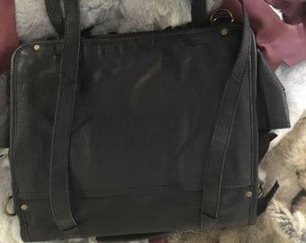 Black leather conversion bag
