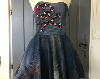 Strapless jeans dress