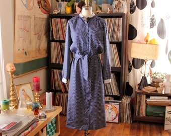 belted 60s shirt dress . blue polka dot dress, womens volup size medium large