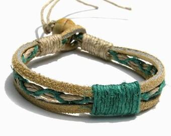 Tan Leather Green Hemp Bracelet or Anklet