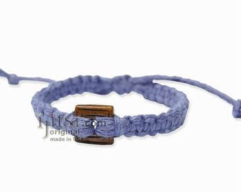 Periwinkle Hemp Adjustable Bracelet or Anklet with Square Brown Bone Bead