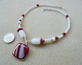 Pendant Necklace - Handmade - Fused Glass, Glass, Sterling Silver