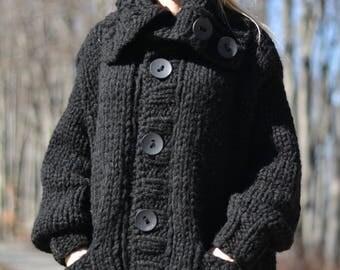 ORDER handmade wool cardigan knitted wool coat chunky cardigan tneck cardigan thick cardigan handknit cardigan knitted chunky Plus size