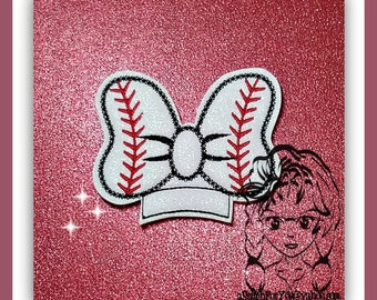 BaSEBALL BoW Center (Add On ~ 1 Pc) Mr Miss Mouse Ears Headband ~ In the Hoop ~ Downloadable DiGiTaL Machine Embroidery Design by Carrie