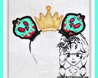 Evil Poison APPLE (5 Piece Set) ~ ITH Mr Miss Mouse Ears Headband ~ INSTaNT Download Machine Embroidery Design by Carrie