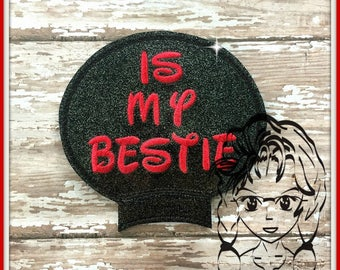 is my BeSTIE Words Ear (Add On ~ 1 Pc) Mr Miss Mouse Ears Headband ~ In the Hoop ~ Downloadable DiGiTaL Machine Embroidery Design by Carrie