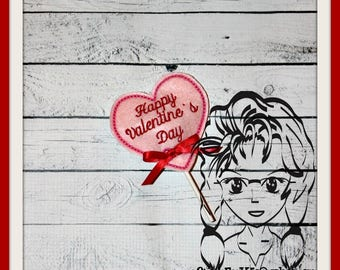 HEART Sucker Cover Sucker Sock Lollipop Candy - VaLENTINEs Birthday ~ In the Hoop ~ Downloadable DiGiTaL Machine Embroidery Design by Carrie