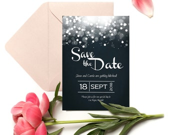 Bokeh Dark Blue and White Save the Date 5x7 Instant Digital Download Art Printable Adobe pdf You edit yourself!