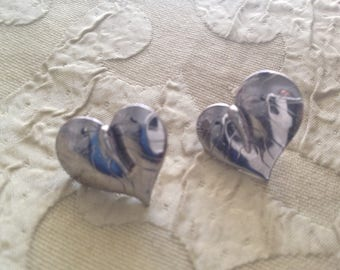 Laurel Burch Post Earrings Silver ANTHERIUM Heart Art Jewelry Vintage Pair Signed