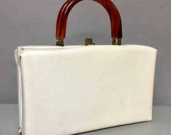 White 1960's Vinyl Box Bag Purse / 60s MOD Purse with BAKELITE Handles