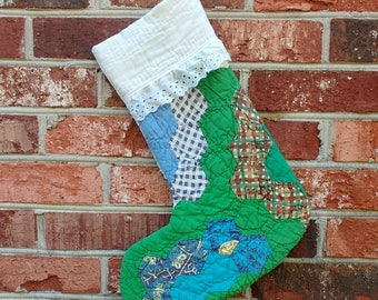 Christmas Stocking - Vintage Quilt Stocking - Flower Garden - Patchwork Stocking - Green - rustic stocking