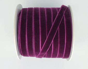 "3 Yards Deep Purple Velvet Ribbon 3/8"" Single Face Velvet Ribbon for Wedding Craft or Gift Wrapping Christmas Ribbon Holiday Gift Wrap"