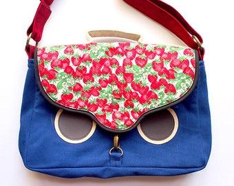 Owl Crossbody Bag, Owl Satchel, Owl Messenger Bag, Owl Sling Bag, Owl Bag, Owl Purse, Ladies Satchel - Vintage Quilted Strawberries Fabric