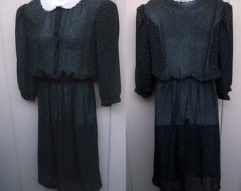 70s Black sheer Polka Dot SECRETARY DRESS ~ by Alison Peters // Sz Sml - Med