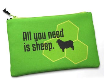 Zipper Bag, All You Need is Sheep, Settlers of Catan, Notions Bag