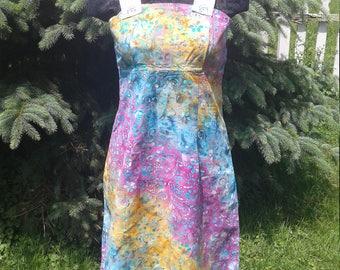 Happy Sunny Rainbow Tye Dye Batik Flower Print Hippie Gypsy Festival One Of A Kind Sundress