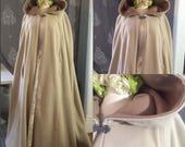 Knee length hooded cape in  wool or velvet