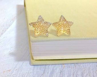 Large Yellow Star Stud Earrings in Bumpy Shimmering Celestial Sparkling Glittery Faux Druzy, Surgical Steel (SE12)