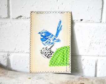 Blue Wren - Australian Bird print - All occasions card - Small Mixed Media Art Print on Vintage book - Upcycled wall art - For Kath