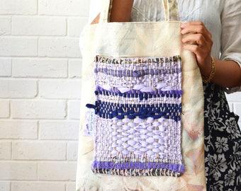 Lavender Boho Blue Weaving Striped Shoulder Tote Large Pocket patchwork Fabric Upcycled Bag Wabi sabi - August Minimum
